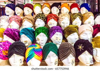 London, United Kingdom - June 10, 2017: Brixton Market - Colorful and multicultural community market run by local traders in South London. Headscarves stand at Market Row