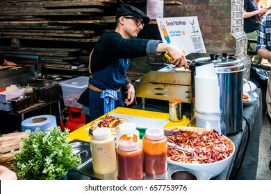 London, United Kingdom - June 10, 2017: Maltby Street Market in Bermondsey. Great artisan street food stalls and bars. Greek wraps stall