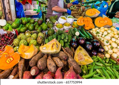 London, United Kingdom - June 10, 2017: Brixton Market - Colorful and multicultural community market run by local traders in South London. Fruits and vegetables stand