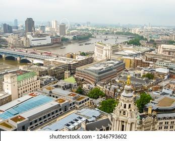 LONDON, UNITED KINGDOM - JUNE 11, 2013: London skyline. Aerial view of the London city, UK