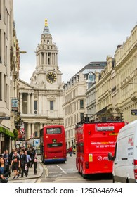 LONDON, UNITED KINGDOM - JUNE 11, 2013: Road Traffic in London. Red Double Decker Buses on the street of London, United Kingdom