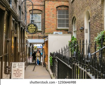 LONDON, UNITED KINGDOM - JUNE 11, 2013: Ye Olde Cheshire Cheese, old pub in London. Rebuilt shortly after the Great Fire of 1666. Fleet Street, on Wine Office Court, City of London, UK