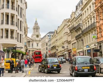 LONDON, UNITED KINGDOM - JUNE 11, 2013: Classic London black cab on street of London city. London, UK