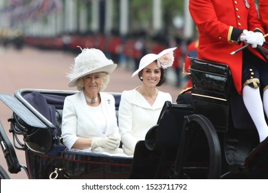 London / United Kingdom - June 11 2016: Camilla, Duchess ff Cornwall (left) and Catherine, Duchess of Cambridge during the Trooping the Colour held on the Queen's 90th birthday