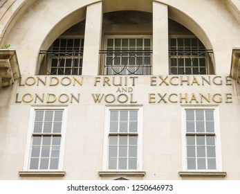 LONDON, UNITED KINGDOM - JUNE 12, 2013: Facade of the Fruit and Wool Exchange building, London, UK