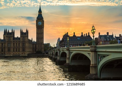 LONDON, UNITED KINGDOM - JUNE 14, 2016: The Big Ben, the Houses of Parliament and Westminster bridge in London in a beautiful summer night, England, United Kingdom