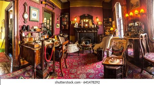 LONDON, UNITED KINGDOM - JUNE 14, 2016: Sherlock Holmes Museum, 221 Baker street in London, England, United Kingdom on June 14, 2016
