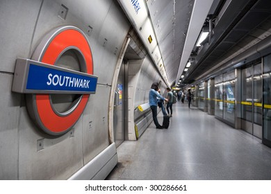 LONDON, UNITED KINGDOM - JUNE 16, 2015: Southwark Station. The Underground system serves 270 stations and has 402 kilometres (250 mi) of track, 45 per cent of which is underground.