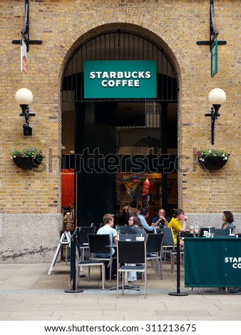 LONDON, UNITED KINGDOM - JUNE 16, 2015: Starbucks store. Starbucks is the largest coffeehouse company in the world.