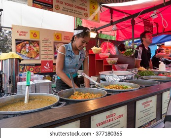 London, United Kingdom - June 17, 2015: Street food in Camden Town, London