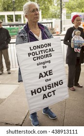 London, United Kingdom - June 18, 2016: Axe the Housing Act. A rally was held in London to protest the changes to social housing. The protesters claim they are being priced out of London.