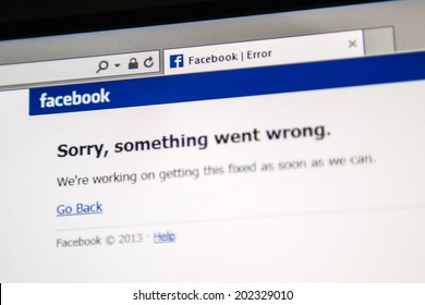 "LONDON, UNITED KINGDOM - JUNE 19, 2014: Facebook social network webpage showing ""Sorry, something went wrong"" as worldwide crash happened to millions of users on Thursday June 19 2014 in the morning."