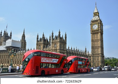 LONDON, UNITED KINGDOM - JUNE 2016 - Two doubledeckers in front of Houses of Parliament in London