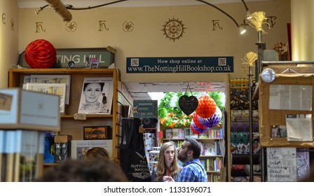 London, United Kingdom, June 2018. Notting Hill District, Blenheim Cres at number 13 will find the bookstore that a famous film has made one of the symbols of the district. Tourists do not miss to see