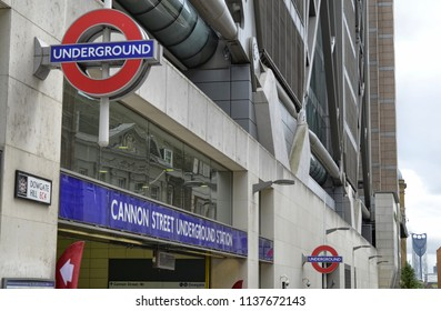 London, United Kingdom, June 2018. Entrance to Cannon  Street underground station . The red circular logo with the underground writing is unmistakable.