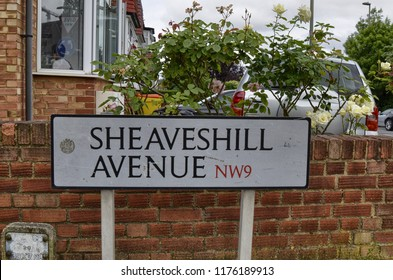 London, United Kingdom, June 2018. The Sheaveshill avenue street signboard in Colindale, northern suburbs.