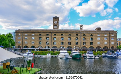 London / United Kingdom — June 21, 2018: panorama of St Katharine Docks, former commercial docks in the east of London. The area is now known as Docklands and offers a lot of leisure activities
