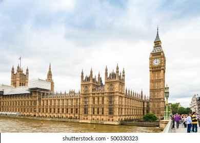 LONDON, UNITED KINGDOM - June 21, 2016. Street view of Traditional Big Ben in London, United Kingdom