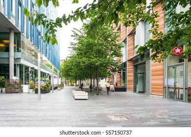 LONDON, UNITED KINGDOM - June 21, 2016. Beautiful street view of business modern buildings in London, England, UK