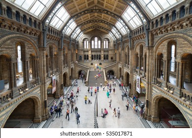 LONDON, UNITED KINGDOM - JUNE 22; Natural History Museum interior in London, United Kingdom - June 22, 2014; Famous London Natural History Museum big hall interior with tourists visitors