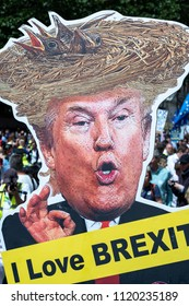 LONDON, UNITED KINGDOM - JUNE 23, 2018: Anti-Brexit protest in London with cut-out caricature of Trump saying 'I love Brexit'.