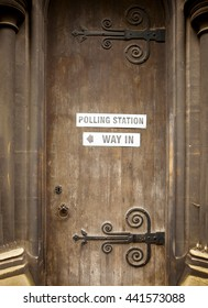 London, United Kingdom - June 23, 2016: British Referendum. Only in Europe could a grand old door of an historical building seem everyday enough to be billposted with a polling station sign.