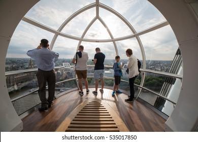 LONDON, UNITED KINGDOM - June 23: Detail of London Eye's cabins on June 23, 2014 in London, UK. London Eye is the tallest Ferris wheel in Europe at 135 meters.