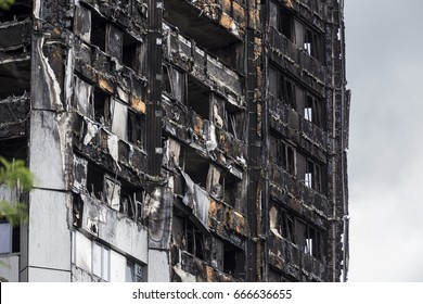 London, United Kingdom - June 24, 2017: Grenfell Tower in west London after a fire which took place on the 14th of  June 2017 and devastated all building and left dozens of residents dead.