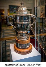 London, United Kingdom - June 26, 2016: Prudential Cup trophy kept at MCC cricket museum at Lord's Cricket Ground in London. The Cricket Worldcup Trophy between 1975-1983