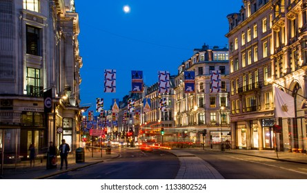 London / United Kingdom — June 26, 2018: evening view of Regent Street, one of the major shopping streets in Central London