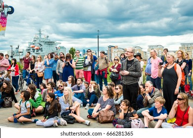 London, United Kingdom - June 26, 2017: Greenwich and Docklands International Festival. Spectators are watching a performance