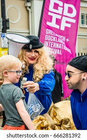 London, United Kingdom - June 26, 2017: Greenwich and Docklands International Festival. Little boy is giving an interview