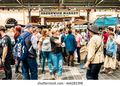London, United Kingdom - June 26, 2017: Greenwich and Docklands International Festival. Greenwich market sign