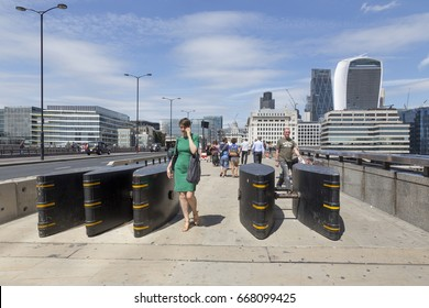 London, United Kingdom - June 26, 2017: Anti-terror barriers installed on London Bridge to protect the public from future car terror atacks.