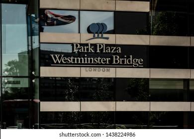 London / United Kingdom - June 28 2019: Close up of the Park Plaza Hotel Logo at Westminster Bridge