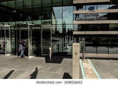 London / United Kingdom - June 28 2019: Entrance of the Park Plaza Hotel at Westminster Bridge with people walking in