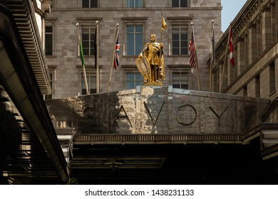 London / United Kingdom - June 28 2019: Close up of the Savoy hotel logo on a sunny day