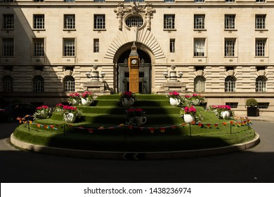 London / United Kingdom - June 28 2019: Interior court of the Marriott County Hall Hotel in central London on a sunny day