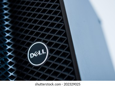 LONDON, UNITED KINGDOM - JUNE 30, 2014: Dell Computers logo on a 2014 server line, as seen on june 30, 2014. Dell server machines come configured as tower, rack-mounted, or blade servers