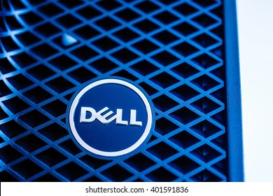 LONDON, UNITED KINGDOM - JUNE 30, 2014: Dell Computers logo on a powerful workstation, as seen on Jun 30, 2014. Dell workstations machines come configured as tower, rack-mounted or notebooks