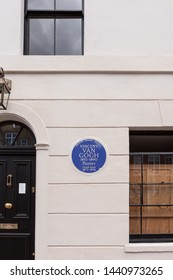 London, United Kingdom - June 30th, 2019: Detail of exterior front view of the recently renovated house, with blue plaque, that Vincent van Gogh lived in when he first moved to London in 1873.
