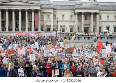 London, United Kingdom, June 4th 2019:- Protesters gather in Trafalgar Sqaure to protest the State visit to the UK by American President Donald Trump