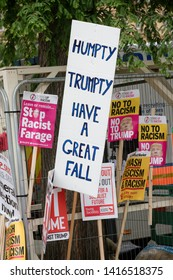 London, United Kingdom, June 4th 2019:- Placards held by Anti Trump protesters in Whitehall against the State Visit by Donald Trump to the UK