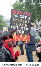 London, United Kingdom, June 4th 2019:- Placards carried by anti Trump protesters in Parliament Square against the state visit to the UK by Donald Trump