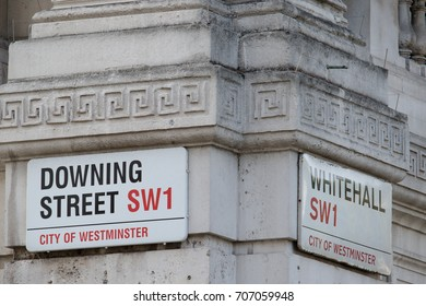 London, United Kingdom - June 5th, 2016: Downing Street, location of Number 10, home of the British Prime Minister.