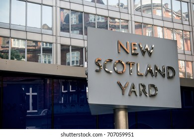 London, United Kingdom - June 5th, 2016: Sign for New Scotland Yard, City of Westminster, London. New Scotland yard moved to its current location in 1967.