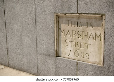 London, United Kingdom - June 5th, 2016: Sign for Marsham Stret, City of Westminster, London. This sign made in 1688 is located at 2 Marsham Street, outside the Home Office.