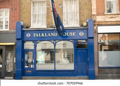 London, United Kingdom - June 5th, 2016: The Government of the Falkland Islands UK Office. The Falklands a British Overseas Territory has its office at 14 Broadway.