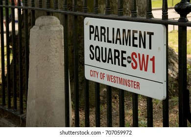 London, United Kingdom - June 5th, 2016: Sign for Parliament Square, City of Westminster, London. This square is home to the Palace of Westminster, the home of the British Parliament.