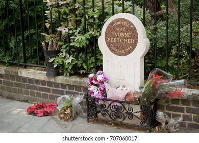 London, United Kingdom - June 5th, 2016: The memorial to WPC Yvonne Fletcher, shot outside the Libyan embassy in London 17th April 1984